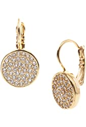 Anne Klein Pave Drop Gold Tone Earrings One Size Gold tone/clear