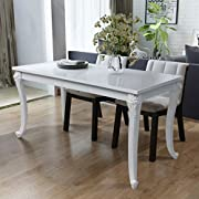 "Festnight High Gloss Rectangular Dining Table for Home Decor, 47.2""x 27.6""x 30"", White"