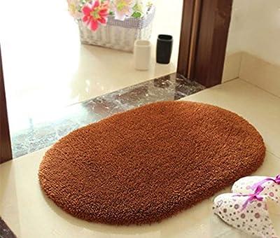ONEONEY Oval Shaped Super Soft Fluffy Non-slip Rug Bathroom Bedroom Kitchen Livingroom Carpet Mat Candy Color Creamy White