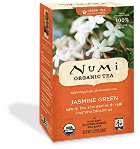 Numi Organic Tea Jasmine Green Full Leaf Green Tea 18-count Tea Bags Pack Of 3 by Numi