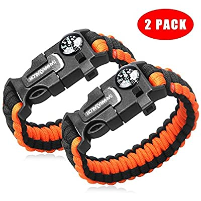 2PCS PACK Multifunctional Paracord Bracelet, Sahara Sailor Outdoor Survival Kit Parachute Cord Buckle W Compass Flint Fire Starter Scraper Whistle for Hiking Camping for Kids and Womens by Sahara Sailor