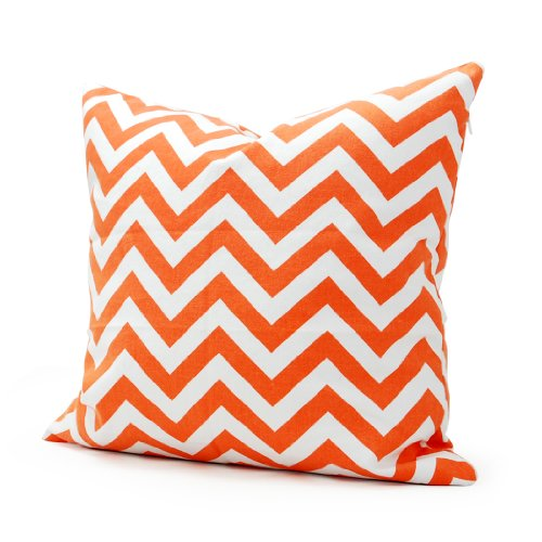 Lavievert 18 X 18 Inches Decorative Cotton Canvas Square Throw Pillow Cover Cushion Case Handmade White and Orange Chevron Stripe Toss Pillowcase with Invisible Zipper Closure (For Living Room, Sofa,