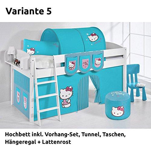Hochbett Spielbett IDA Hello Kitty Türkis, mit Vorhang, weiß, Variante 5