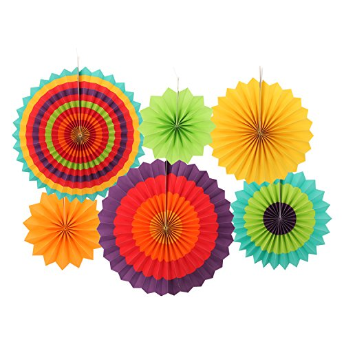 Ohuhu Fiesta Colorful Paper Fans Decoration for Party Birthday Events Wedding and Home, Set of 6 (Party Decorations Crepe Paper compare prices)