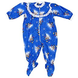 Blue Snowman Classic Christmas Footed Pajama for Baby Girls 18Months