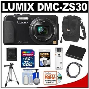 Panasonic Lumix DMC-ZS30 Wi-Fi Digital Camera (Black) with 32GB Card + Battery + Case + Tripod + Accessory Kit