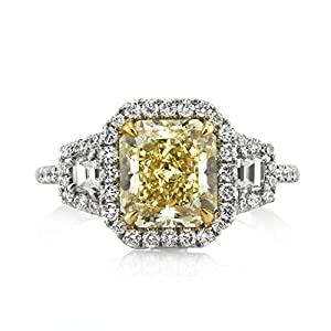 Mark Broumand 3.46ct Fancy Yellow Radiant Cut Diamond Engagement Ring