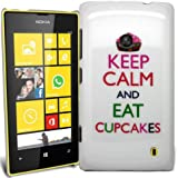 Accessory Master Coque pour Nokia Lumia 520 Motif Keep Calm and Eat Cup Cakes Blanc