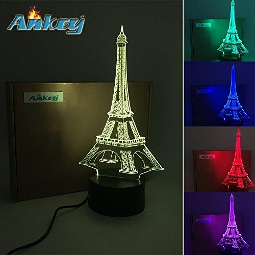 Eiffel Threetoo Tower 3D Multi-Color Change USB Button LED Decor Lamp Amazing Optical Illusion Night Lighting Lamps  Lighting Toys