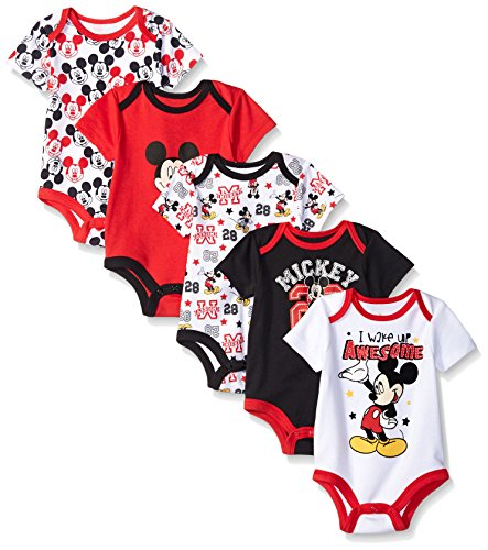 Disney Baby Mickey 5 Pack Bodysuits, Multi/Black, 12-18 Months