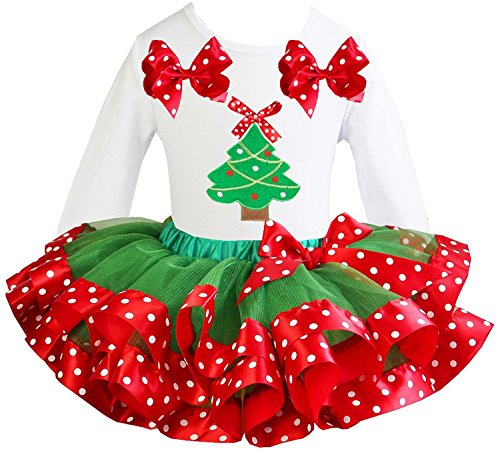 Kirei Sui Girls Green Red Polka Dots Satin Tutu Xmas Tree White Tee Party Dress