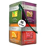 Timothy's Variety 96 Sachet Sampler Tea Bags Gift Set 12 Flavors Black, Green, Roolbos Tea