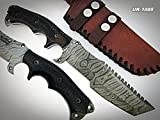TR-P-334 Custom Handmade Damascus Steel Tracker Knife- Unique Design