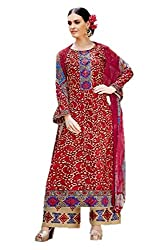 Lebaas Red and Beige Printed Cambric Cotton Ready to Stitch Dress Material (With Discount and Sale Offer)
