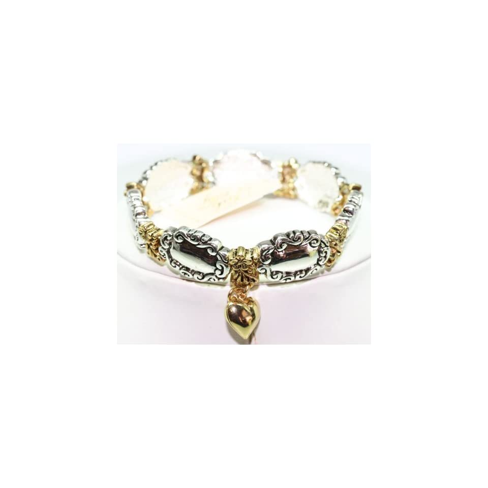 Kirks Folly 2 Tone Stretch Bracelet with Heart Charm