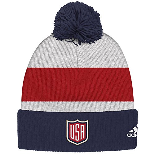 United States Adidas World Cup of Hockey Winter Cuffed Knit Pom Hat