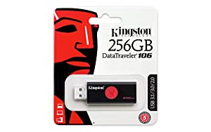 Kingston Digital DT106/256GB USB 3.0 DataTraveler 106 Flash Drive Type-A USB Memory Stick backwards compatible with 2.0 USB up to 130 MB/s
