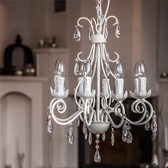 kronleuchter villa mattweiss 8 armig aus metall mit. Black Bedroom Furniture Sets. Home Design Ideas