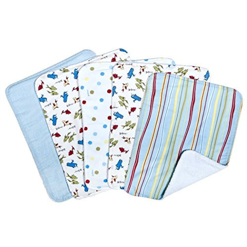 Trend Lab Dr. Seuss One Fish, Two Fish 5 Pack Burp Cloth Bundle Box Set, One Fish/Two Fish