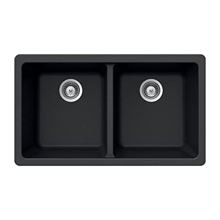 Houzer MADISON N-200U Onyx Madison Series Undermount Granite Double Bowl Kitchen Sink, Onyx