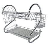 NEW CHROME 2 TIER / LAYER DISH KITCHEN SINK DRAINER PLATES RACK & GLASS HOLDER