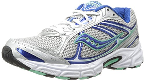 Saucony Women's Cohesion 7 Running Shoe,Silver/Blue/Mint,8.5