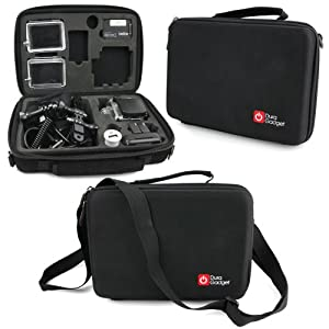 DURAGADGET Black Armoured Shell Case For GoPro Hero 4 (Black & Sliver), GoPro Hero 3+ (Plus), GoPro Hero 3, Go Pro Hero 2, GoPro Hero 1 & HD Hero With Protective Shock Abzorbing Foam, Cusom Cutouts And Carry Handle