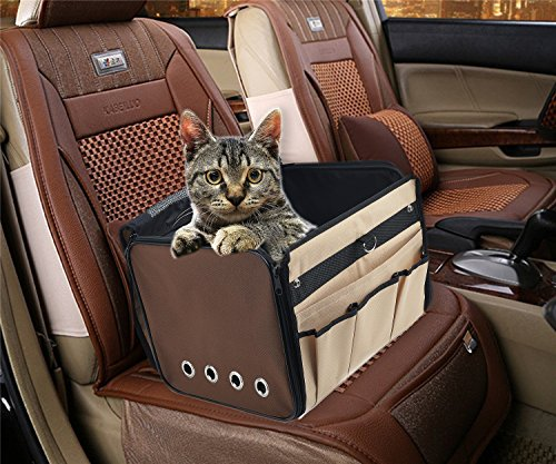PUPTECK Portable Dog Booster Car Seat Carrier Bag for Pet Cat Puppy Safety Functional Soft-Sided Beige and Brown
