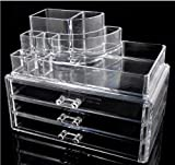Home-it Clear Acrylic Cosmetic Holder Large 3 Drawer Jewerly Chest or Make up Case Lipstick Liner Brush Holder Organizer