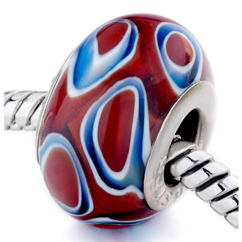 Pugster Gorgeous Red Circle Murano Glass Beads Fits Pandora Biagi Chamilia Charm Bracelets