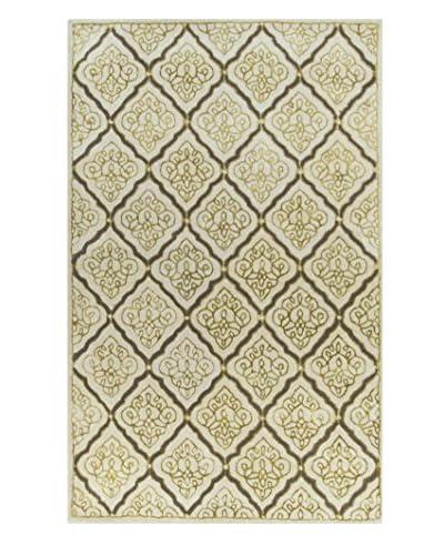 Surya Modern Classic Damask Paisley Hand-Tufted Rug  [Ivory/Gold/Pewter]