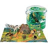 Un cubo lleno de animales de la selva, con accesorios para que montes todo el decorado.