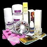14 in 1 Simple Nail Art Tips Kit DIY Acrylic Liquid Powder Tools Glue Oil Pen Buffer Rhinestones Decorations Basic Tool Set #1224 (Tamaño: 1)