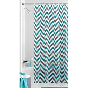 Chevron Zig Zag Teal Gray PEVA Vinyl Shower Curtain