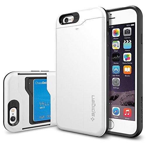 iPhone 6 ケース, SpigenR [ IC カード1枚収納可能/電磁波干渉防止シート1枚] スリム・アーマーCS Apple iPhone 4.7 (2014) The New iPhone アイフォン6 カバー **カード スライダー** (国内正規品) (シマリー・ホワイト SGP10965)