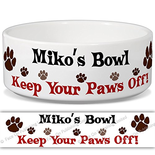 mikos-bowl-keep-your-paws-off-personalised-name-ceramic-pet-food-bowl-155mm-x-60mm-small