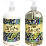 Zinnia Aloe Butter Hand Hand & Body Lotion And Zinnia Aloe Butter Hand Soap Duo Set 16 Oz Each By Greenwich Bay...