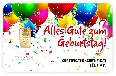 Geschenkkarte 0,5 g 0,5g Gramm Feingold 999.9 Nadir Gold Alles Gute zum Geburtstag