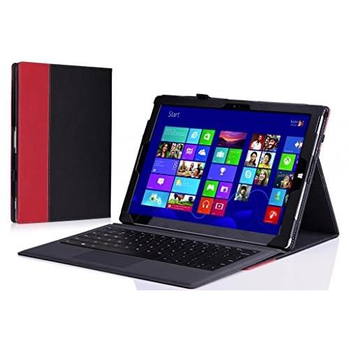 MoKo Microsoft Surface Pro 3 12 インチ ケース - MoKo Microsoft Surface Pro 3 12インチタブレット専用薄型スタンドケース。 BLACK & RED