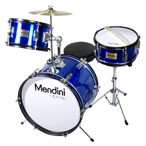 mendini-mjds-3-bl-16-inch-3-piece-blue-junior-drum-set-with-cymbals-drumsticks-and-adjustable-throne