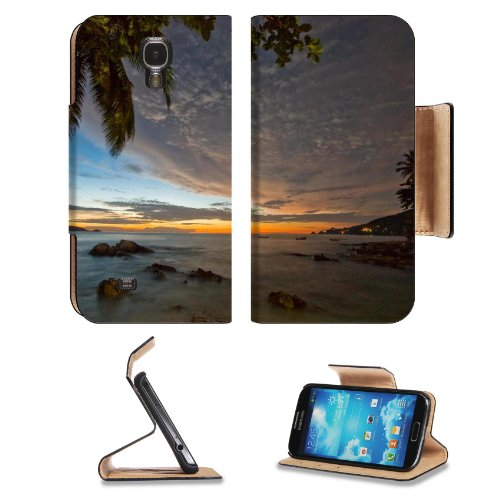 Taiwanese Overcast Beach Setting Palm Tree Rocks Samsung Galaxy S4 Flip Cover Case With Card Holder Customized Made To Order Support Ready Premium Deluxe Pu Leather 5 1/2 Inch (140Mm) X 3 1/4 Inch (80Mm) X 9/16 Inch (14Mm) Msd S Iv S 4 Professional Cases