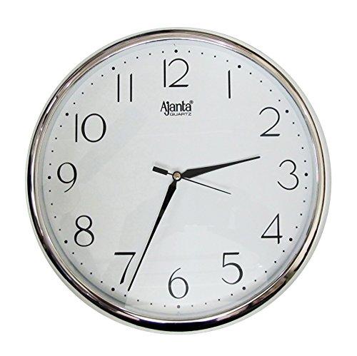 Ajanta Quartz Silver Ring Plastic Wall Clock, Silver White