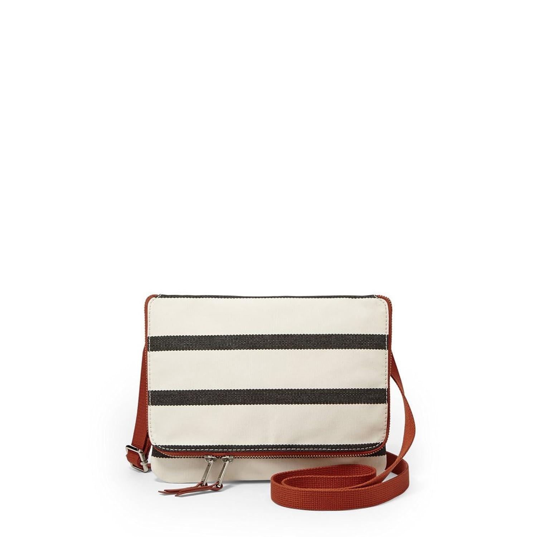 Fossil Keyper Flap Mini Cross-Body Handbag,Navy Stripe,One Size