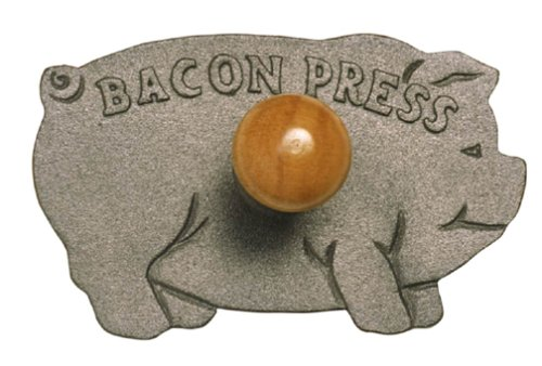Norpro Bacon Press Pig Shaped Cast Iron with Wood Handle Grill/Panini 5.25