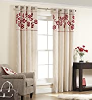 Jacobean Style Floral Eyelet Curtains