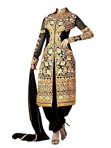 New Black Heavy Embroidery Work Snazzy Design Patialas With Georgette Designer Suit