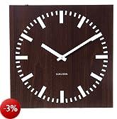 Karlsson Double Sided MDF Square Wall Clocks, 30cm, Dark Wood
