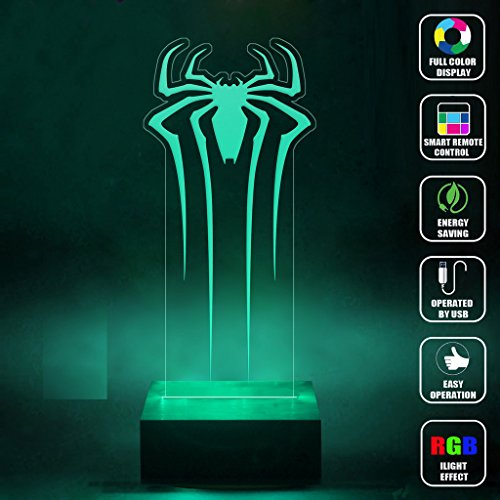 CMLART Handmade Spider Man Logo 3d Lamp RGB Full Color 44 Key Remote control LED Night Light Best Gift Desk Table Lighting Home Decoration Toys