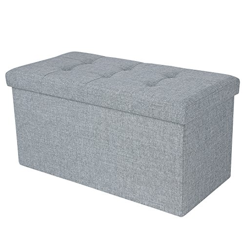 Ottomans Lucia Storage Chest Grey Fabric: Ottoman Bench Seat Box, Folding Storage Space Saving