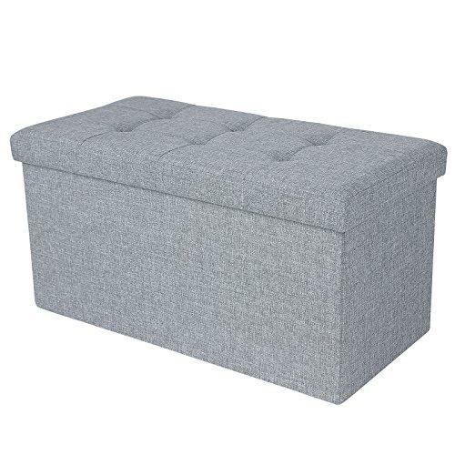 Songmics-76-x-38-x-38-cm-Faltbarer-Sitzhocker-belastbar-bis-300-kg-Fubank-Sitzbank-Aufbewahrungsbox-leinen-lichtgrau-LSF47G